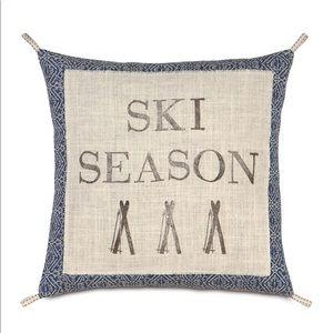 Eastern Accents Ski Season Pillow Cover Burlap NEW